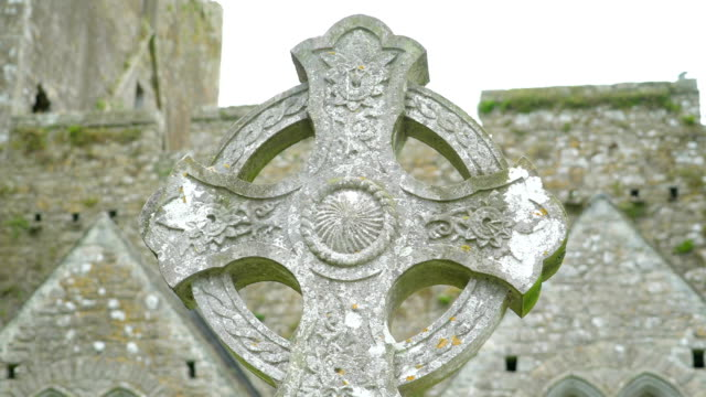 A celtic on the high cross in Ireland video