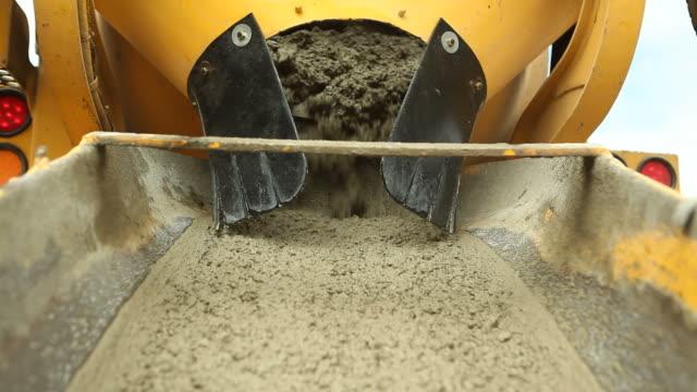 Cement Mixer Truck Unloading Concrete at Construction Site video