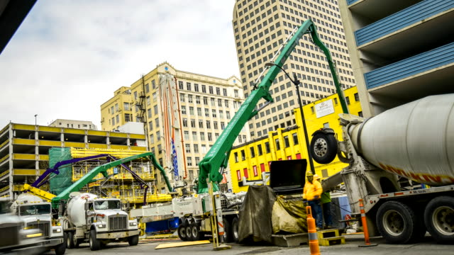 Cement pump truck pouring foundations  ,tielaps at seattle wa usa video