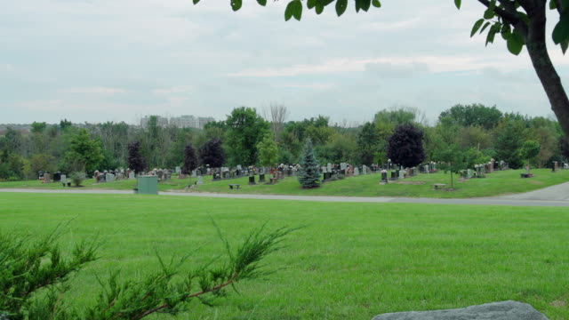 Cemetery view on overcast day.
