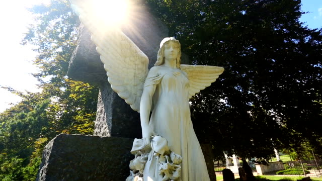 Cemetery with angels and sun video