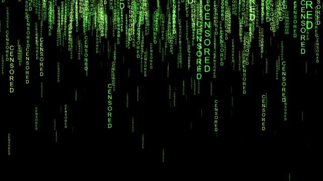 censored online code matrix style concept - censura video stock e b–roll