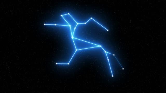 centaurus - animerad stjärnbilds- och horoskopsymbol med starfieldutrymmesbakgrund - centaurus bildbanksvideor och videomaterial från bakom kulisserna