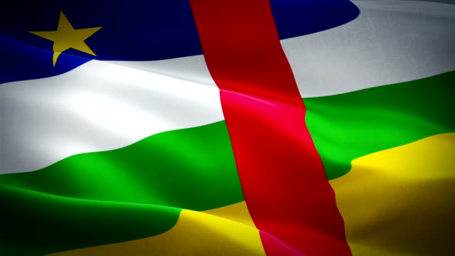 central african republic flag closeup 1080p full hd 1920x1080 footage video waving in wind. national  bangui 3d central african republic flag waving. sign of central african republic seamless loop animation. central african republic fl - kiss filmów i materiałów b-roll