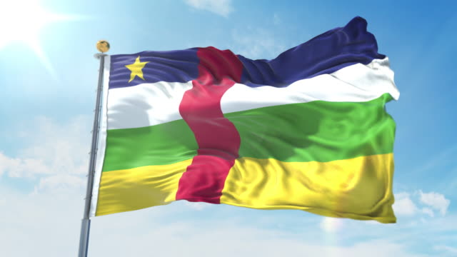 Central African Republic flag waving in the wind against deep blue sky. National theme, international concept. 3D Render Seamless Loop 4K Central African Republic flag waving in the wind against deep blue sky. National theme, international concept. 3D Render Seamless Loop 4K allegory painting stock videos & royalty-free footage