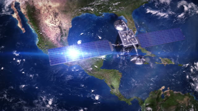 central america. telecommunication satellite orbiting earth. - aerial map stock videos & royalty-free footage