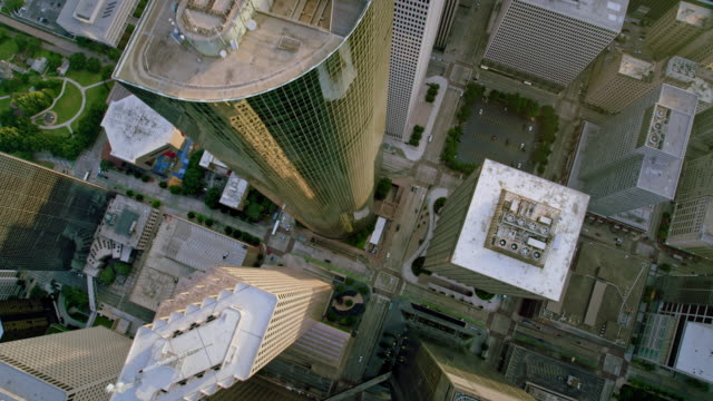 AERIAL Central Business District in Houston, Texas Aerial shot above the Central Business District in Houston, Texas. Shot in USA. international architecture stock videos & royalty-free footage
