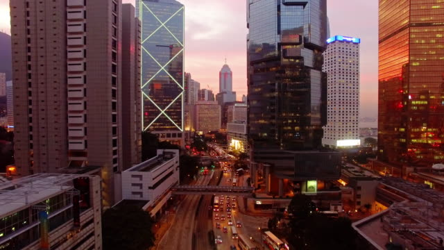 stockvideo's en b-roll-footage met central hong kong sunset door drone - hongkong