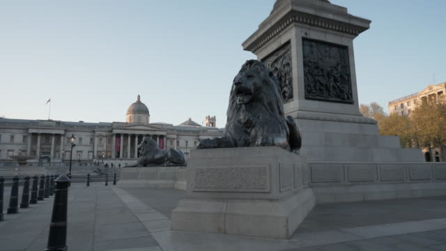 Central London UK devoid of people at dusk at Trafalgar Square during the Covid-19 lockdown, April 2020 london architecture stock videos & royalty-free footage
