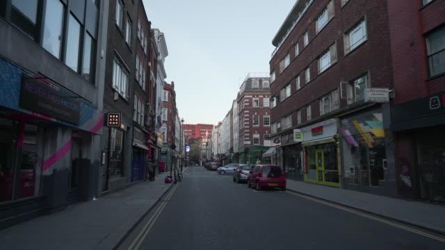 倫敦市中心英國在蘇霍黃昏時分沒有人 - 城市街道 個影片檔及 b 捲影像