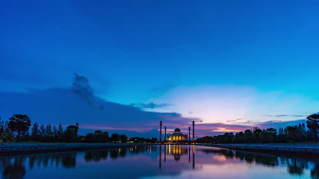 Central Mosque with Dramatic Sky at Sunset, Time Lapse Video