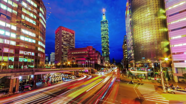 Central of Taipei city from day to night video