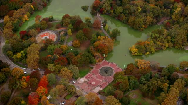 セントラルパークにある秋の色、空中ショット - アメリカ文化点の映像素材/bロール