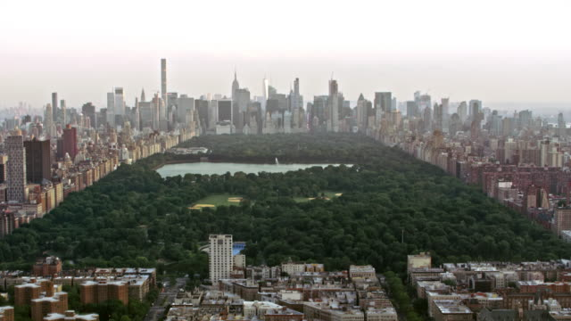 AERIAL Central Park in Manhattan, NYC Aerial shot of the Central Park in Manhattan, NYC. Shot in USA. central park manhattan stock videos & royalty-free footage