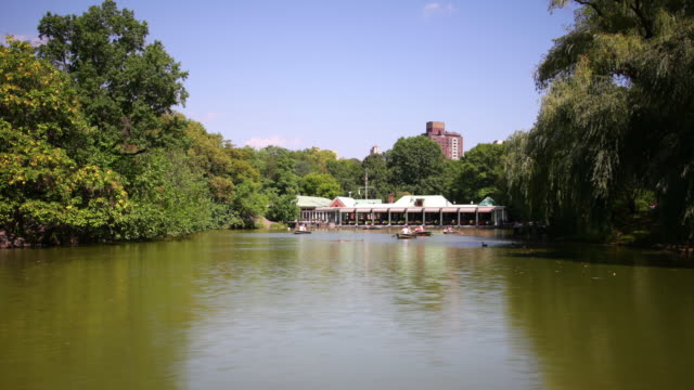 central park lake and boathouse 4k time lapse from new york city video