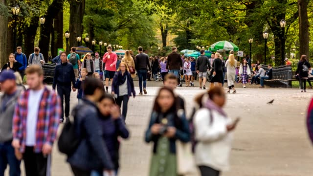 Central Park Time Lapse of People at The Mall 4k stock time lapse video of a mass of people walking at the The Mall and Literary Walk central park manhattan stock videos & royalty-free footage