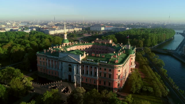 centre of saint-petersburg, russia: st michael's in the summer morning light - treedeo saint petersburg stock videos & royalty-free footage