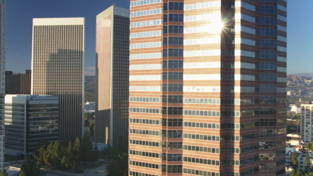Century City Office Towers with LA Sprawl Beyond - Drone Shot video