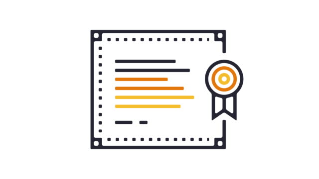 Certificate Icon Animation Thin line animation of grade diploma icon on white background. diploma stock videos & royalty-free footage