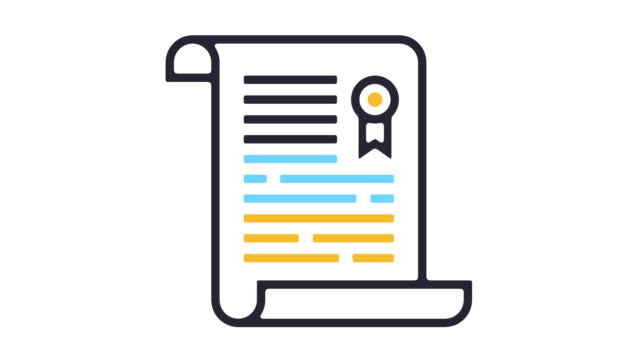 Certificate Icon Animation Thin line animation of paper document icon on white background. law stock videos & royalty-free footage