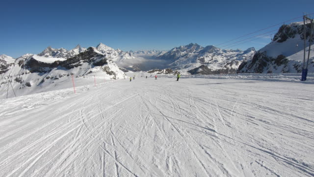 Cervinia, Italy. Ski helmet point of view. Skier POV. Ski on the slopes of the Plateau Rosa glacier. Panoramic view. Italian Alps in winter at Breuil Cervinia ski resort. Wonderful day