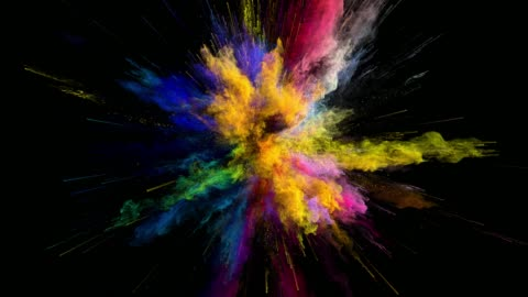 vídeos de stock e filmes b-roll de cg animation of color powder explosion on black background. slow motion movement with acceleration in the beginning. has alpha matte - imagem a cores
