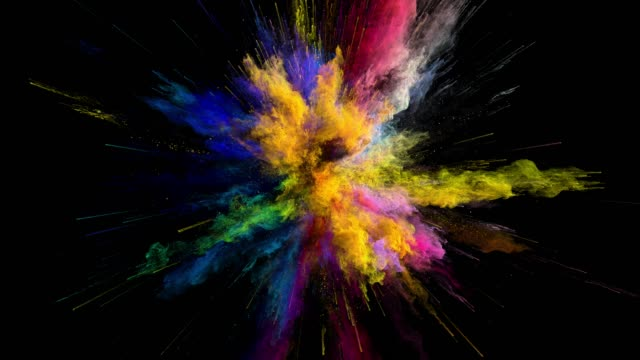 cg animation of color powder explosion on black background. slow motion movement with acceleration in the beginning. has alpha matte - взрывающийся стоковые видео и кадры b-roll