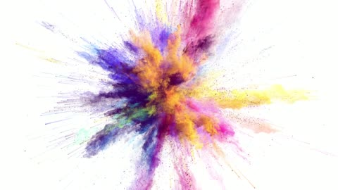 Cg animation of color powder explosion on white background. Slow motion movement with acceleration in the beginning. Has alpha matte Cg, slow motion, alpha matte, 4k colors stock videos & royalty-free footage