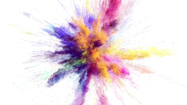 cg animation of color powder explosion on white background. slow motion movement with acceleration in the beginning. has alpha matte - взрывающийся стоковые видео и кадры b-roll