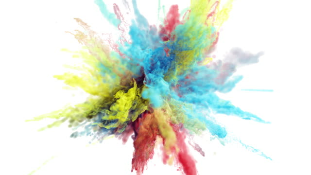 Cg animation of color powder explosion on white background. video