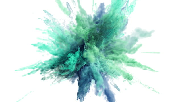 Cg animation of color powder explosion on white background.