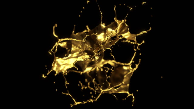 cg animation of liquid gold explosion on black background. - ciecz filmów i materiałów b-roll