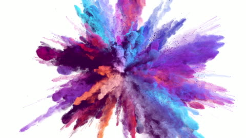 Cg animation of powder explosion with alpha matte With blue, red, orange and violet colors on white background. Slow motion movement with acceleration in the beginning. colors stock videos & royalty-free footage