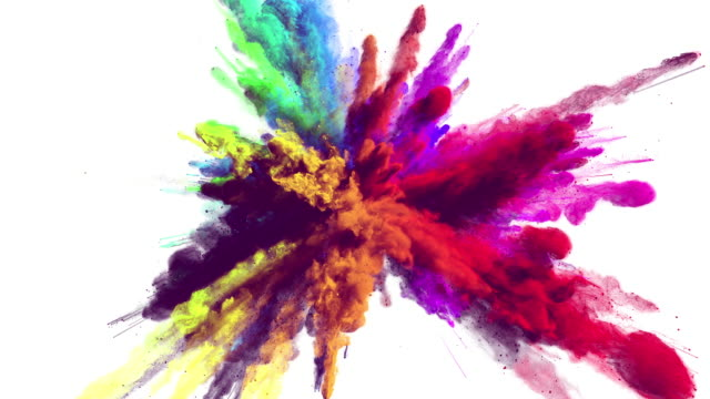 Cg animation of powder explosion with alpha matte