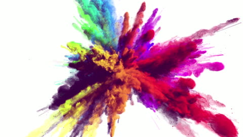 Cg animation of powder explosion with alpha matte With all primary colors on white background. Slow motion movement with acceleration in the beginning. colors stock videos & royalty-free footage