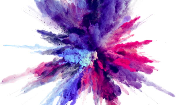Cg animation of powder explosion with alpha matte With blue, red and violet colors on white background. Slow motion movement with acceleration in the beginning. burst stock videos & royalty-free footage
