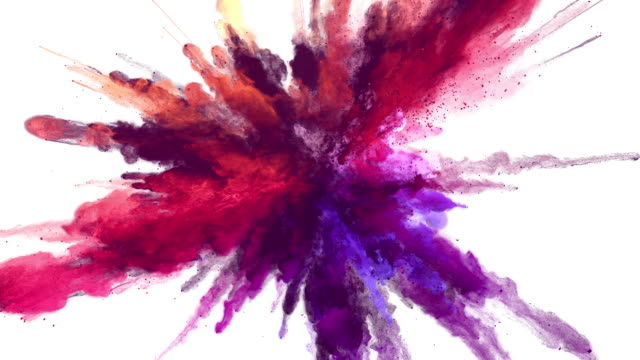 Cg animation of powder explosion with alpha matte - video