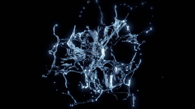 Cg animation of water explosion on black background. Slow motion. Has alpha matte. drop stock videos & royalty-free footage