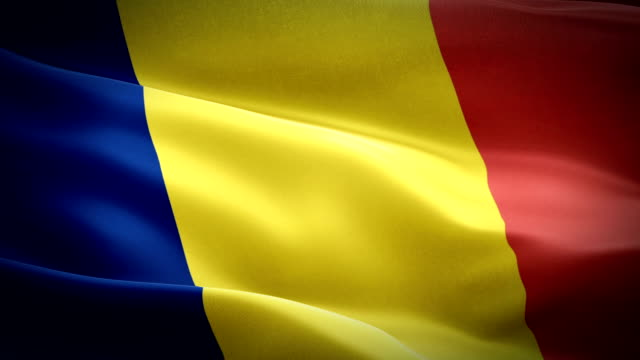 chad flag motion loop video waving in wind. realistic chad flag background. chad travel flag looping closeup 1080p full hd 1920x1080 footage. chad asia country flags footage video for film,news - kiss filmów i materiałów b-roll