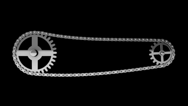 chain and gears 3d rendering animation loop-able and alpha channel - physics stock videos and b-roll footage