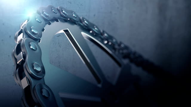 chain and gears 3d rendering animation loop-able