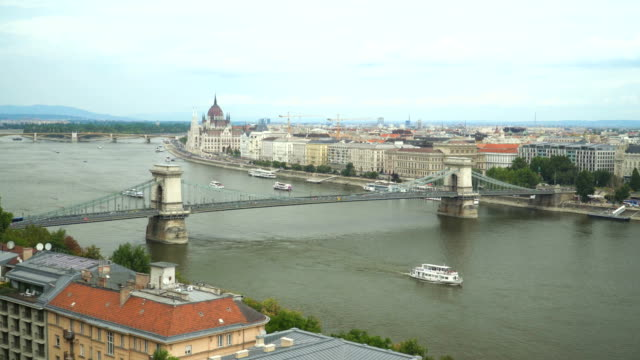 Chain bridge and parliament under overcast, Budapest, Hungary Chain bridge and parliament under overcast, Budapest, Hungary hungary stock videos & royalty-free footage