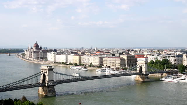 chain bridge on Danube river Budapest cityscape video
