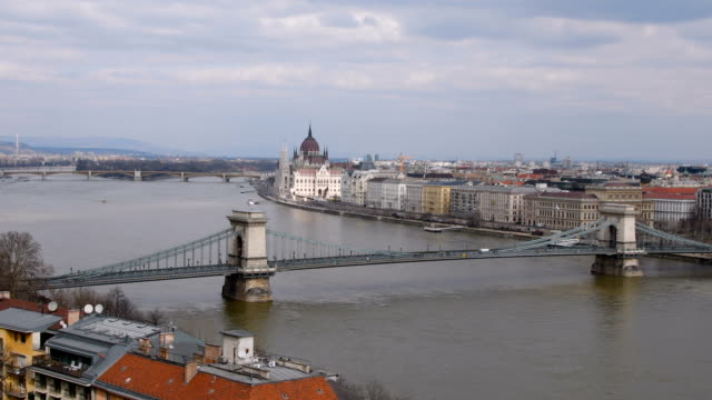 Chain Bridge over the River Danube towards Parliament video