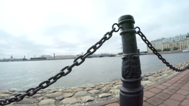 Chain fence on embankment of the Neva video