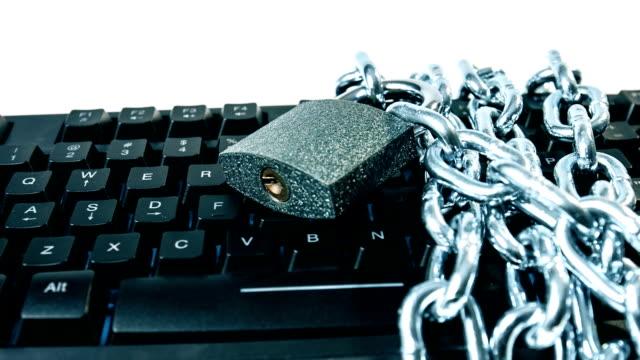 Chain locked padlock computer black keyboard video