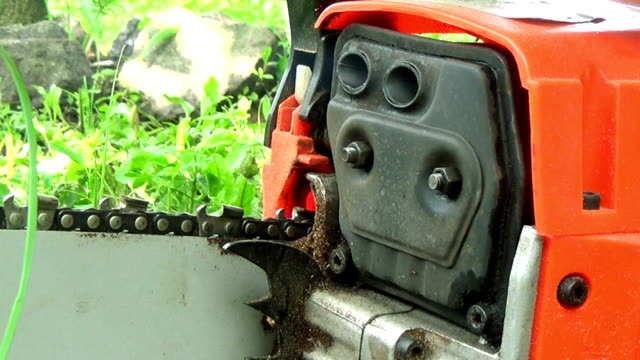 Chainsaw Starting - Close Up video