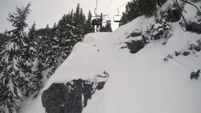 Chairlift Ride Over Rocky Mountain Cliffs video