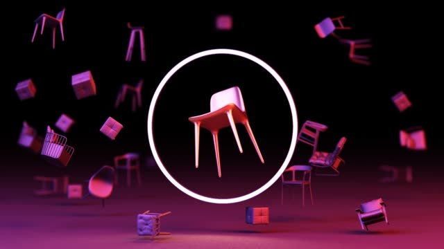 chairs in empty with circle white LED and Purple lighting on black background. Concept of minimalism & installation art. 3d rendering mock up