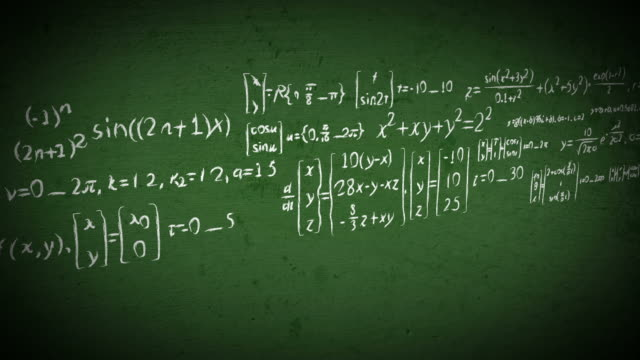 Chalkboard math equations scrolling video